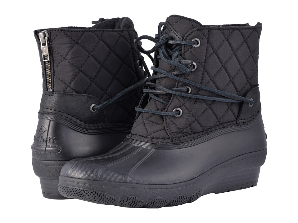 Sperry Saltwater Wedge Tide Quilted Nylon (Black) Women