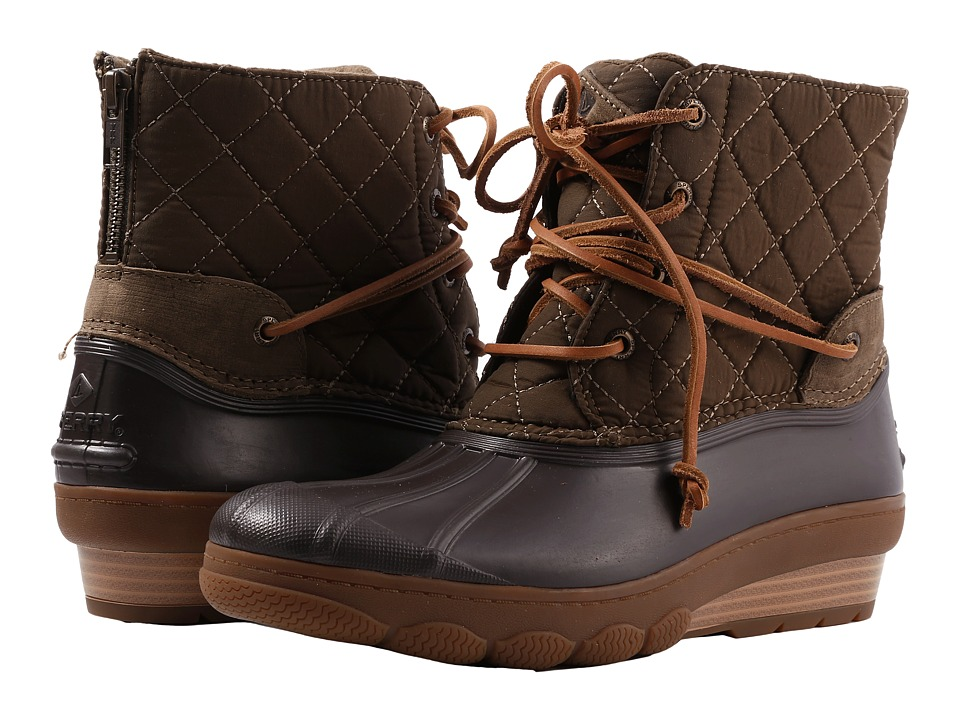 Sperry Saltwater Wedge Tide Quilted Nylon (Brown) Women