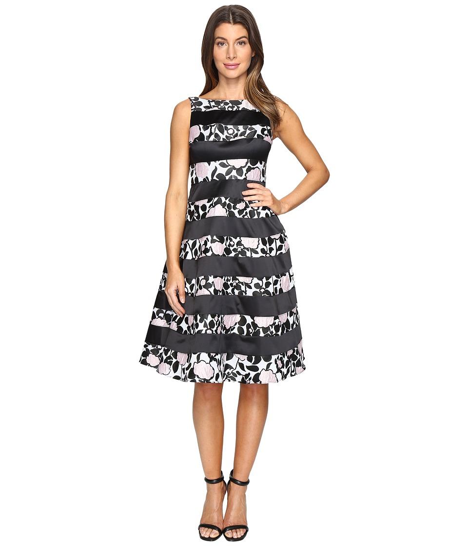 Adrianna Papell Boatneck Fit Flare Dress (Light Pink/Black) Women