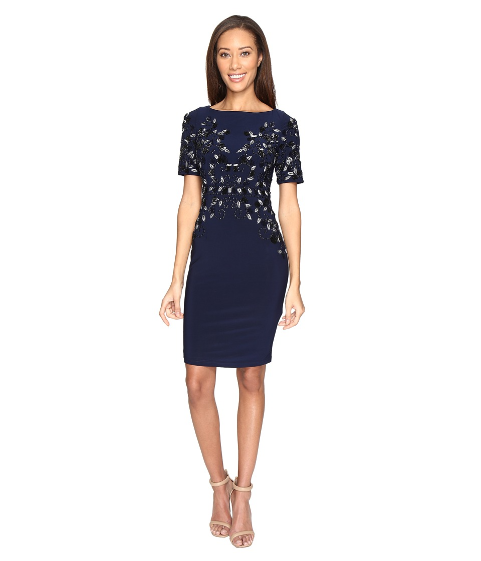 Adrianna Papell - Jersey Beaded Cocktail Dress (Midnight) Women's Dress