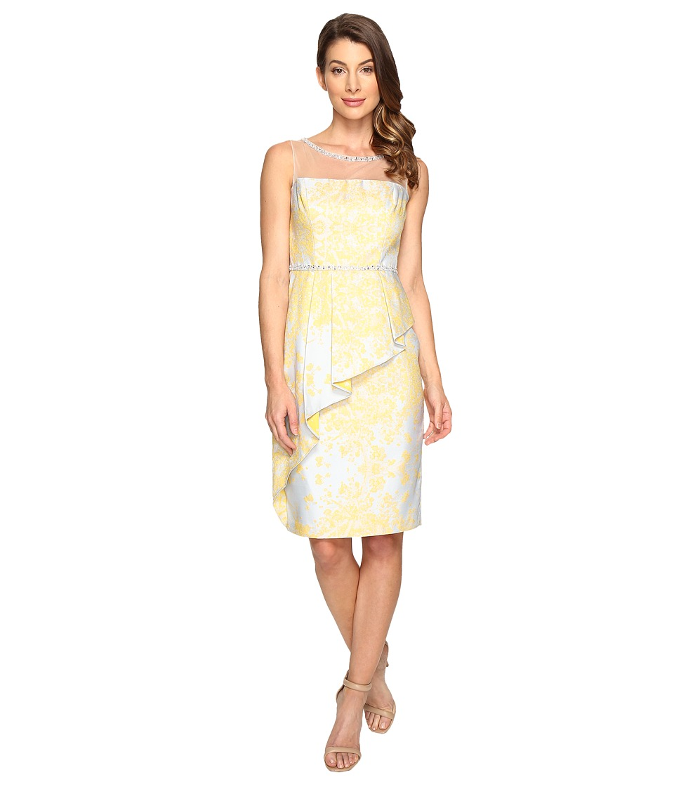 Adrianna Papell - Jacquard Sheath Dress w/ Cascade Peplum (Sunbeam Multi) Women's Dress