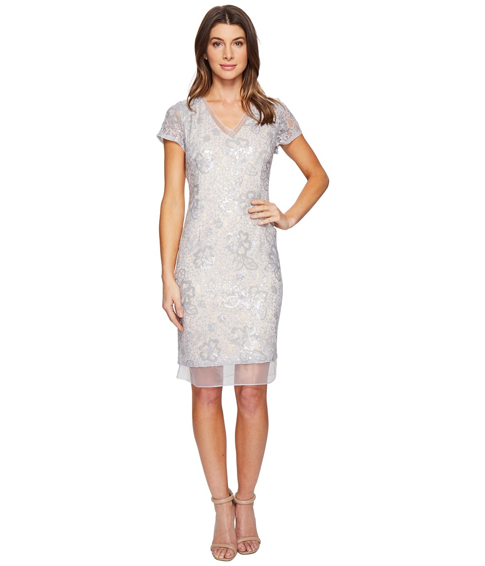 Adrianna Papell - Sequin Lace Organza Sheath Dress (Silver/Nude) Women's Dress