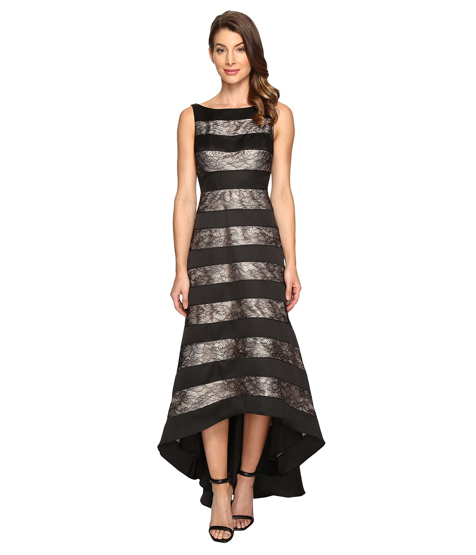 Adrianna Papell - Striped Lace Mikado Hi-low Dress (Black) Women's Dress