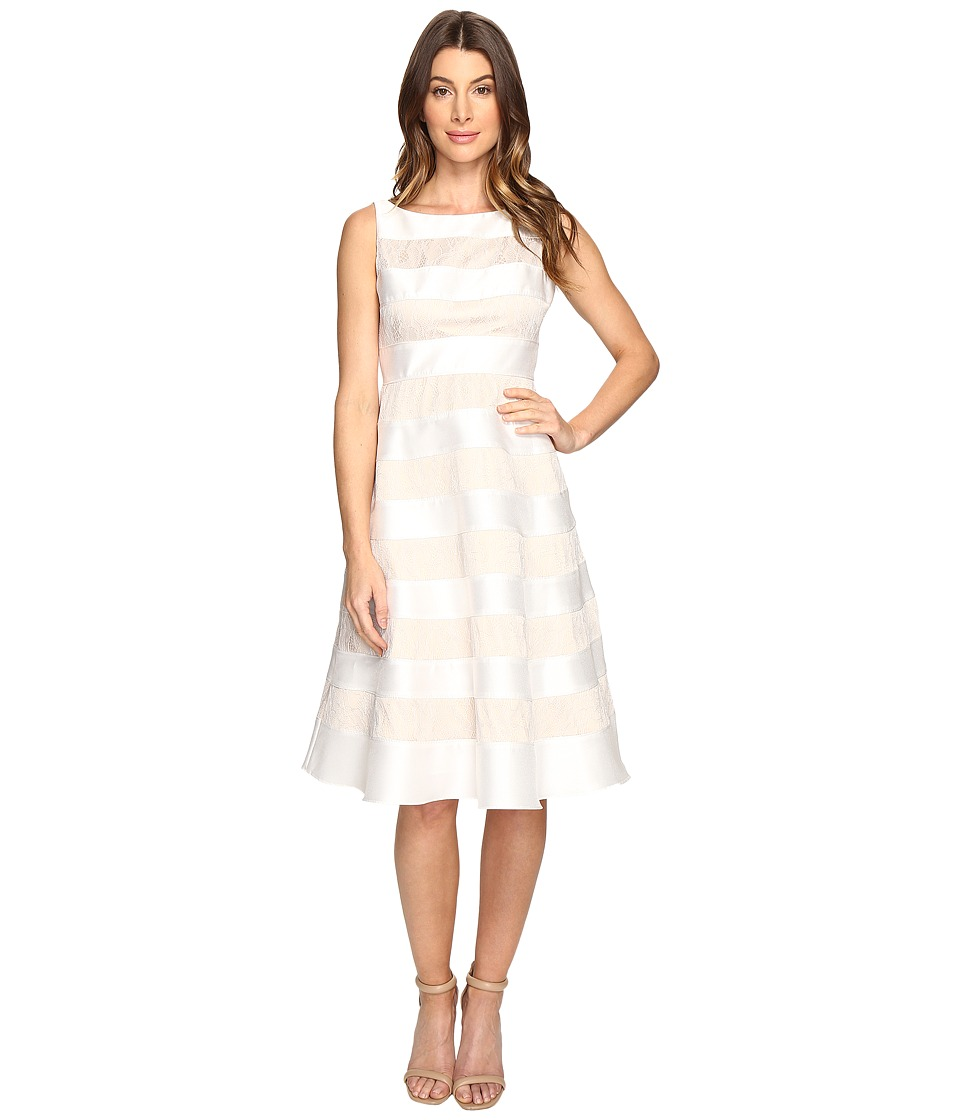 Adrianna Papell - Striped Lace Mikado Cocktail Dress (Ivory) Women's Dress