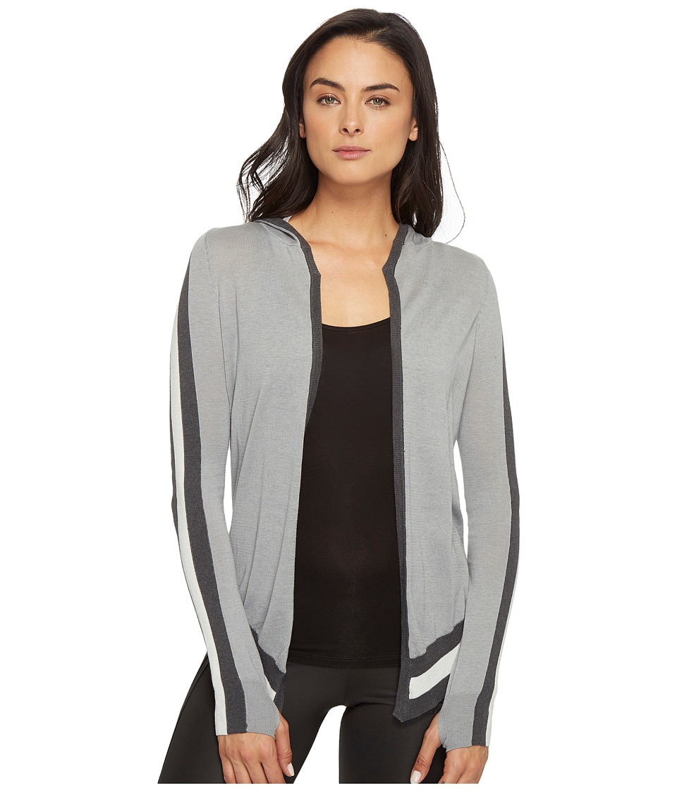 Blanc Noir - Hooded Wrap Cardigan (Grey Heather) Women's Sweater