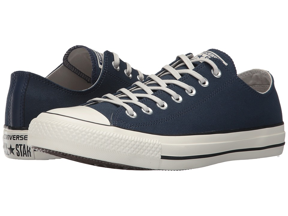 Converse Chuck Taylor All Star Coated Leather OX (Midnight Navy/Black/Egret) Athletic Shoes