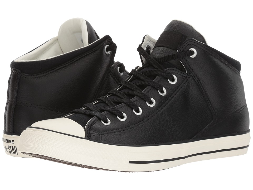 Converse - Chuck Taylor All Star Street Hi - Tumbled Leather (Black/Black/Egret) Classic Shoes