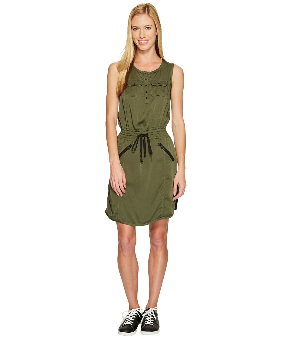 Blanc Noir - Aviator Dress (Olive/Black) Women's Dress