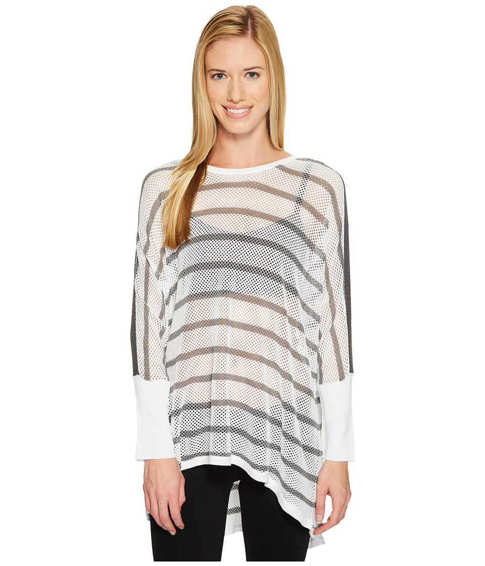 Blanc Noir Stripe Drape Sweater (White/Heather Grey) Women
