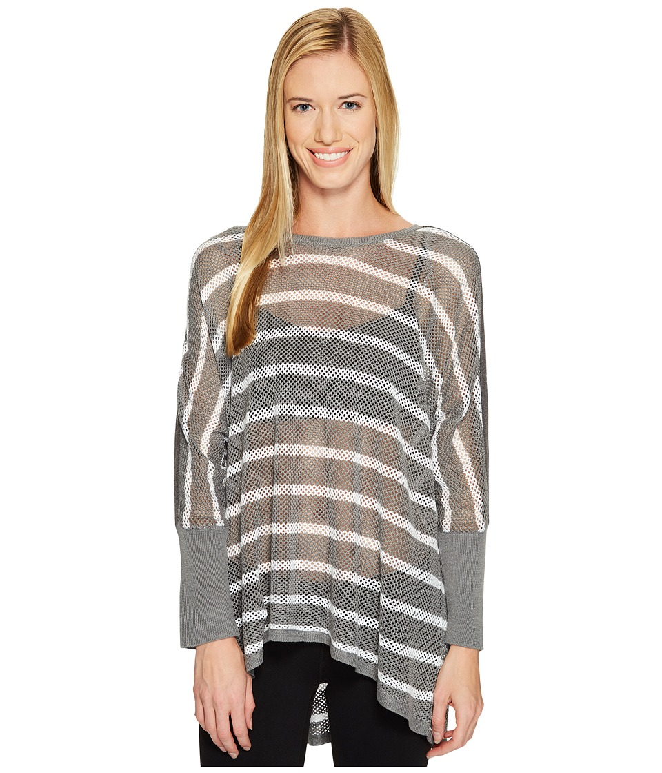 Blanc Noir Stripe Drape Sweater (Light Grey Heather/White) Women