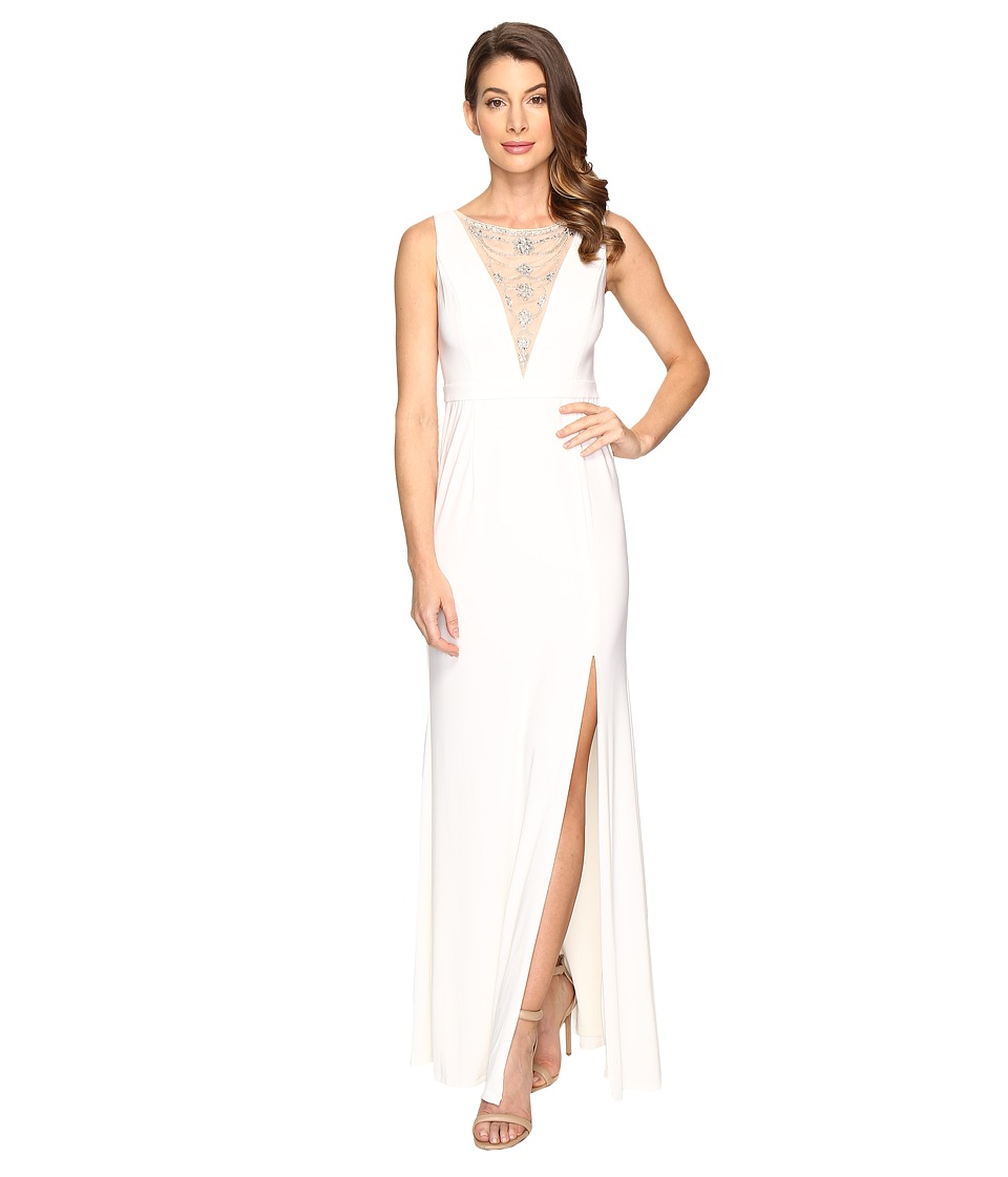 Adrianna Papell Jersey Halter Gown Illusion Ivory Dress