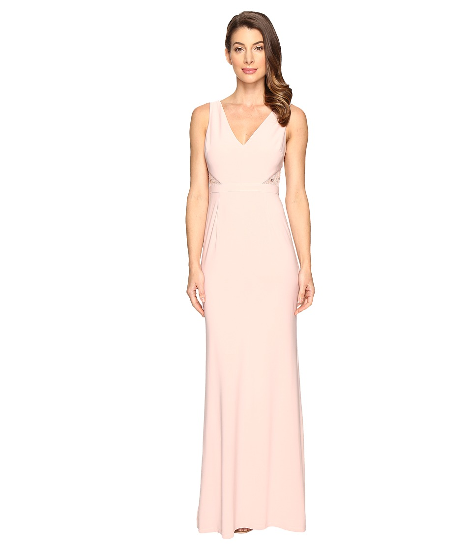 Adrianna Papell Jersey Sleeveless Gown Cutouts Icy Pink Dress