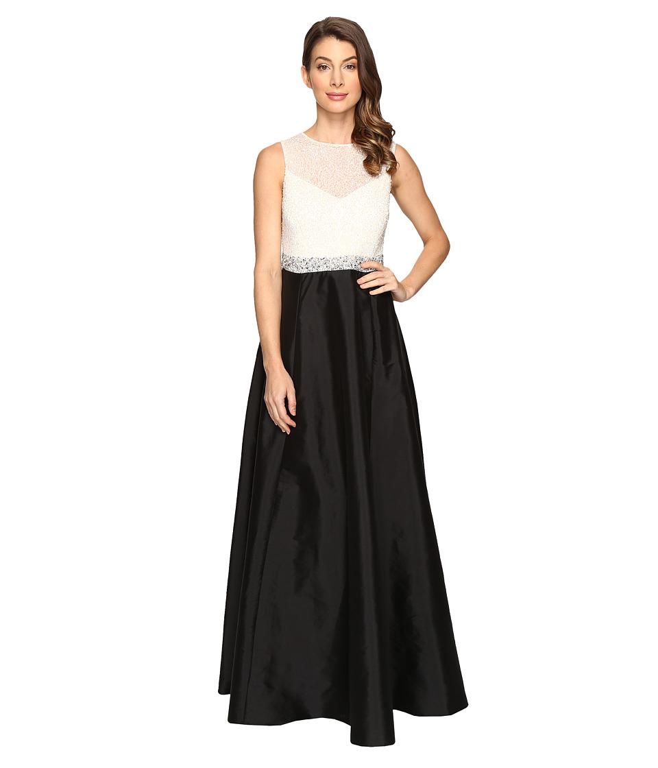 Adrianna Papell Bead Boidice Taffeta long Gown (Ivory/Black) Women
