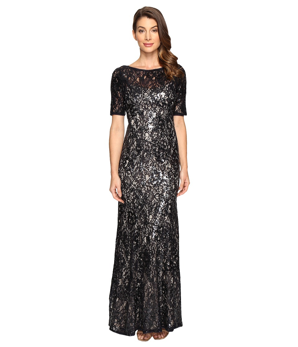 Adrianna Papell - Short Sleeve Sequin Lace Mermaid Gown (Midnight/Nude) Women's Dress