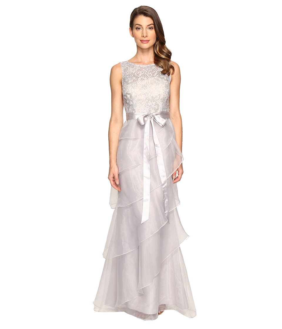 Adrianna Papell - Sequin Lace Organza Gown w/ Tier Ruffle (Silver/Nude) Women's Dress