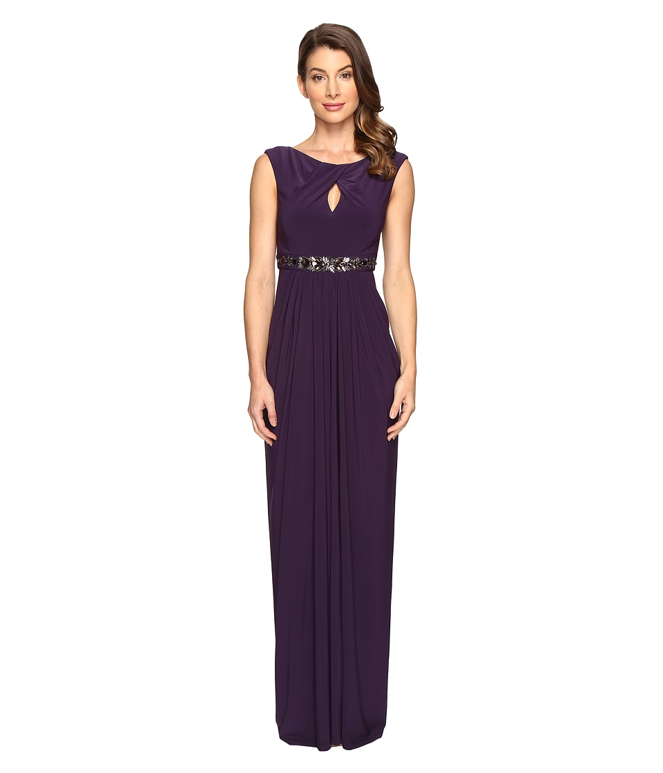 Adrianna Papell - Embellished Jersey Gown w/Keyhole (Aubergine) Women's Dress