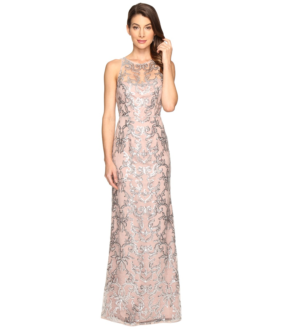 Adrianna Papell - Sequin Lace Sleeveless Halter Gown (Blush/Silver) Women's Dress