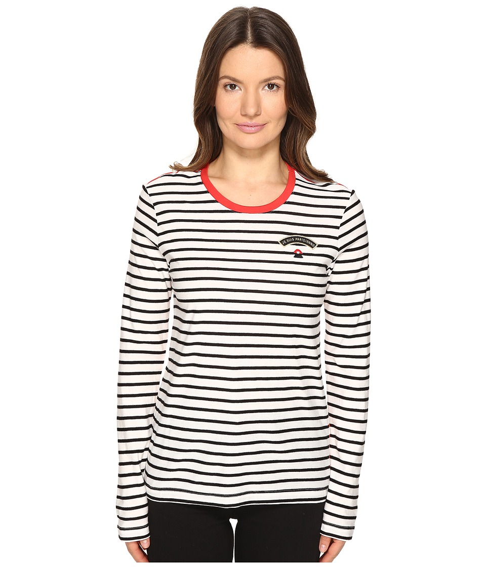 Sonia by Sonia Rykiel - Striped Cotton Modal Jersey Top (Ecru/Black/Lips) Women's Clothing