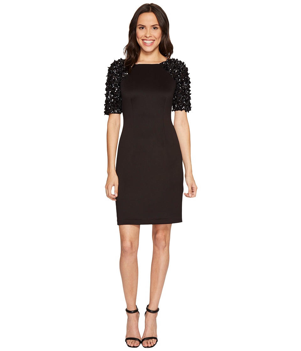 Adrianna Papell Beaded Sleeve Cocktail Dress (Black) Women