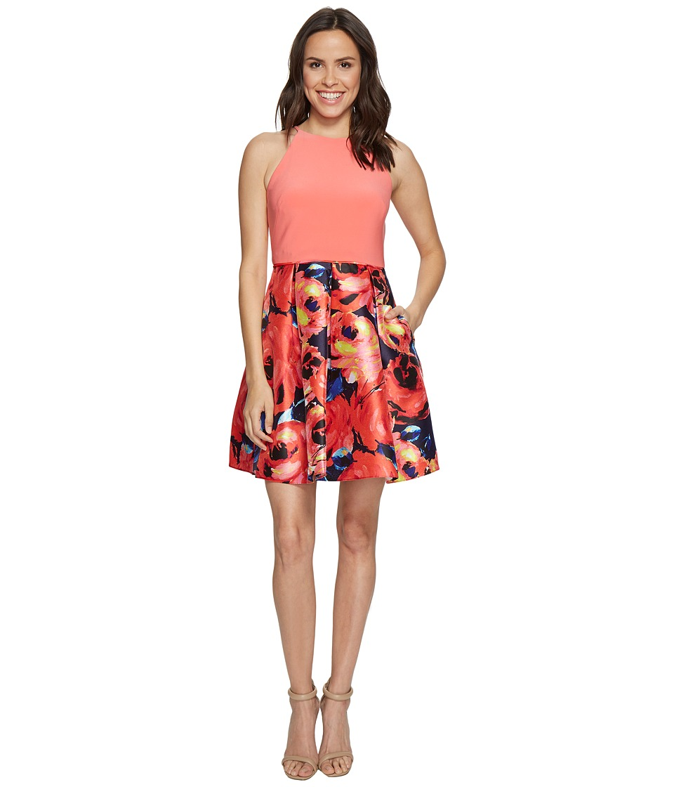 Adrianna Papell - Jersey Halter Mikado Print Cocktail Dress (Desert Flower Navy) Women's Dress