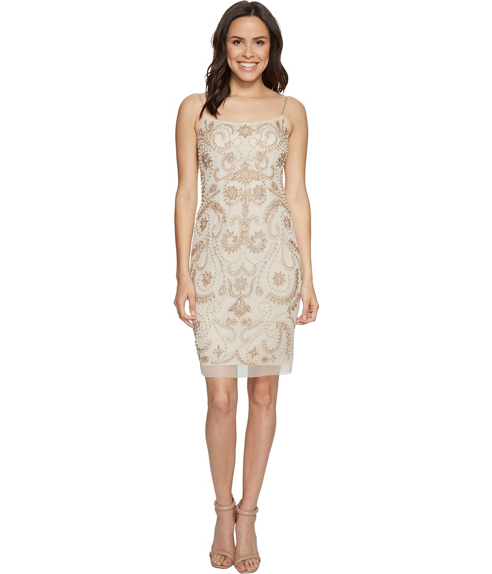Adrianna Papell - Beaded Cocktail Dress (Biscotti) Women's Dress