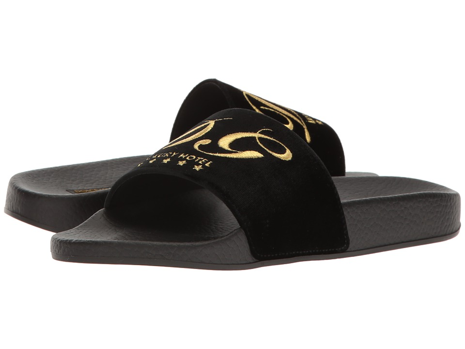 Dolce & Gabbana Rubberized Leather DG Pool Slide (Black) Women
