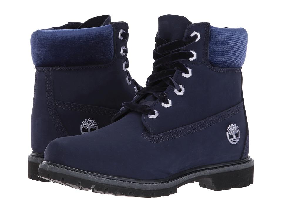 Timberland 6 Premium Leather and Fabric Waterproof Boot (Dark Blue Nubuck/Velvet Collar) Women