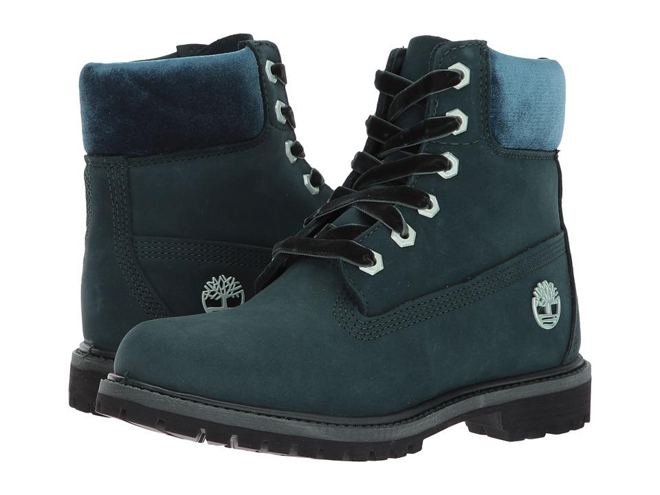 Timberland 6 Premium Leather and Fabric Waterproof Boot (Dark Green Nubuck/Velvet Collar) Women