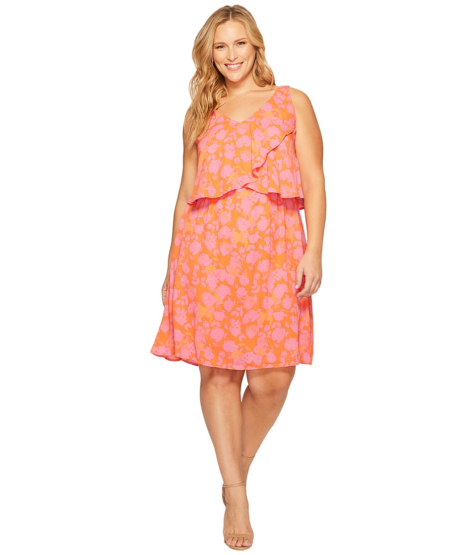 B Collection by Bobeau - Plus Size Lane Double V Woven Dress (Hot Coral Print) Women's Dress