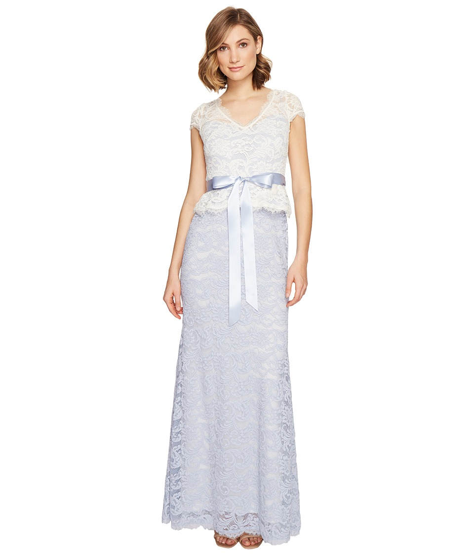 Adrianna Papell Nouveau Scroll Lace Gown (Light Blue Ivory) Women