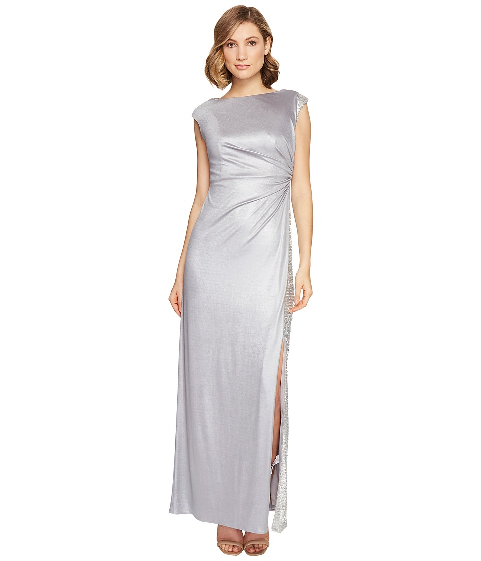 Adrianna Papell Jersey Draped Sequin Inset Gown Silver Dress