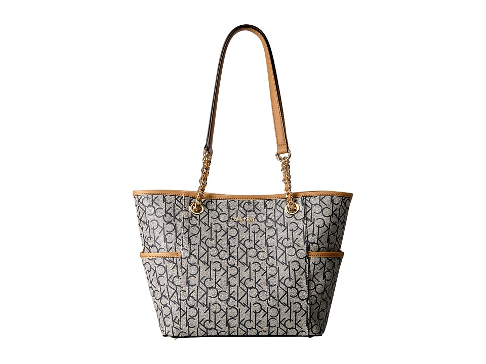 Calvin Klein - Monogram Chain Tote (Text Almond/Navy/Cash) Tote Handbags