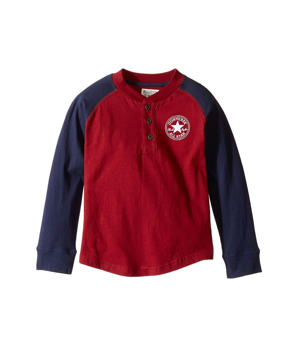 Converse Kids Long Sleeve Graphic Henley Top (Toddler/Little Kids) (Red Block) Boy