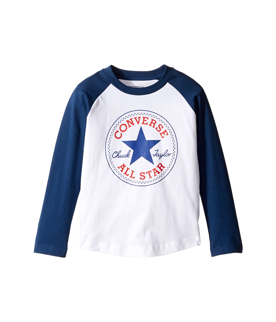 Converse Kids - Chuck Patch Raglan (Toddler/Little Kids) (White) Boy's Clothing