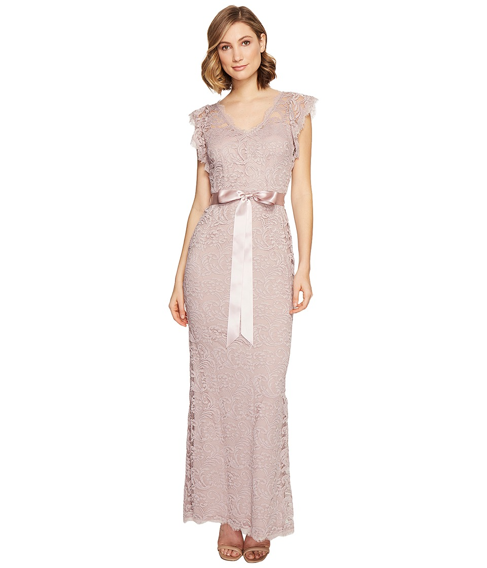 Adrianna Papell Scroll Lace Mermaid Gown Quartz Dress