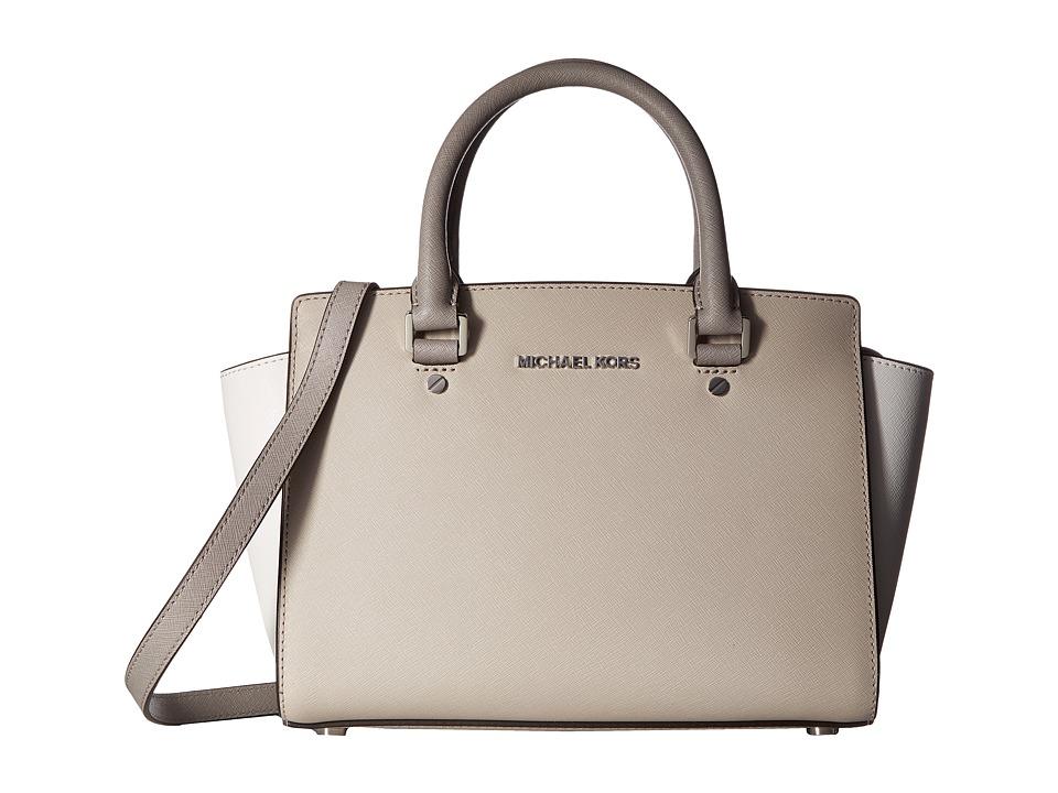 MICHAEL Michael Kors - Selma Medium Tz Satchel (Cement/White/Pgry) Satchel Handbags