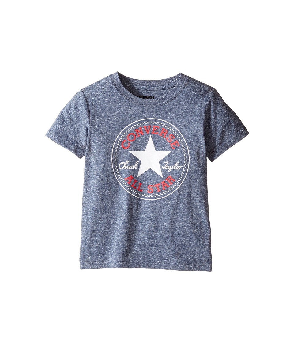 Converse Kids - Snow Yarn Chuck Patch Tee (Toddler/Little Kids) (Navy Snow Heather) Boy's T Shirt