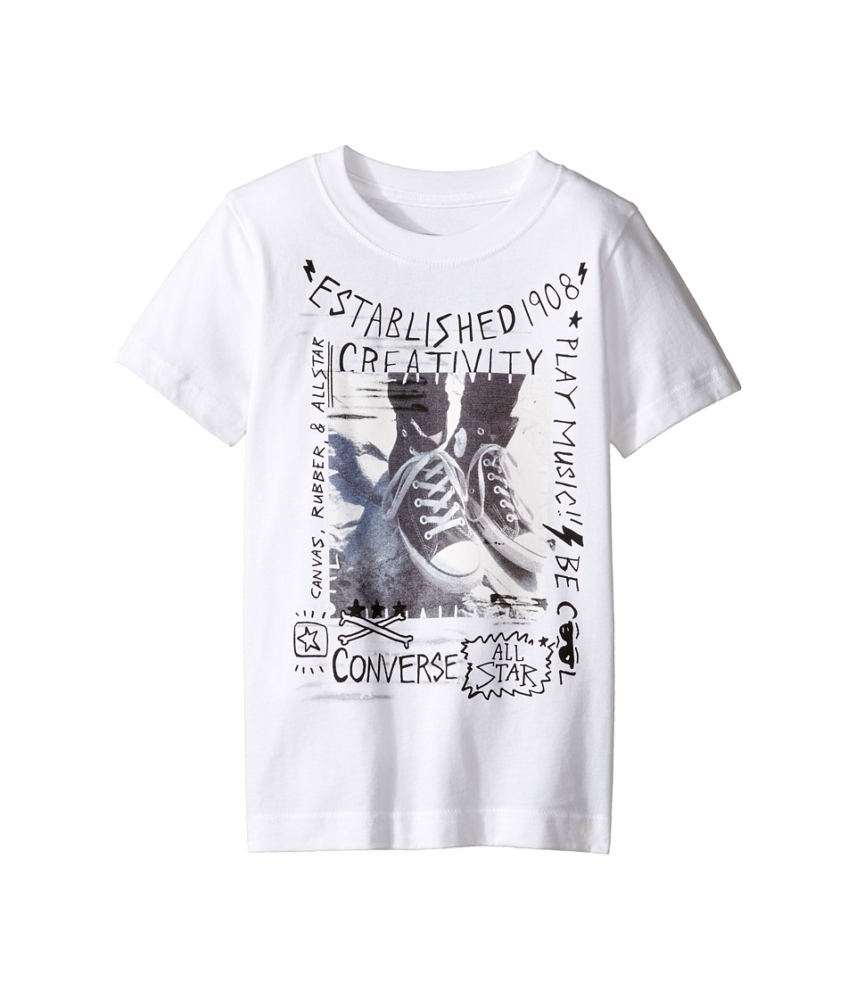 Converse Kids - Doodle Photo Chucks Tee (Toddler/Little Kids) (White) Boy's T Shirt