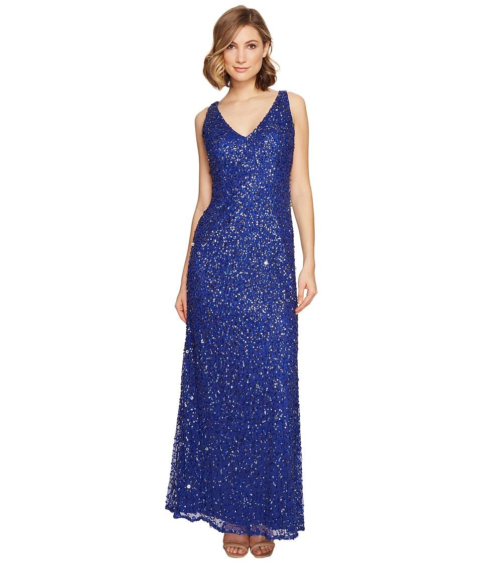 Adrianna Papell - Sleeveless Beaded Mermaid Gown (Neptune) Women's Dress