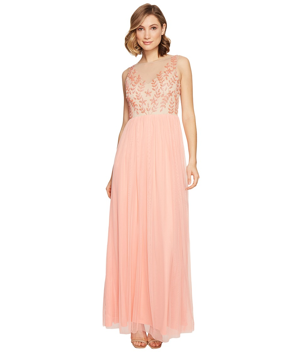 Adrianna Papell - Illusion Beaded Bodice Dress w/ Tulle Skirt (Coral Reef/Nude) Women's Dress