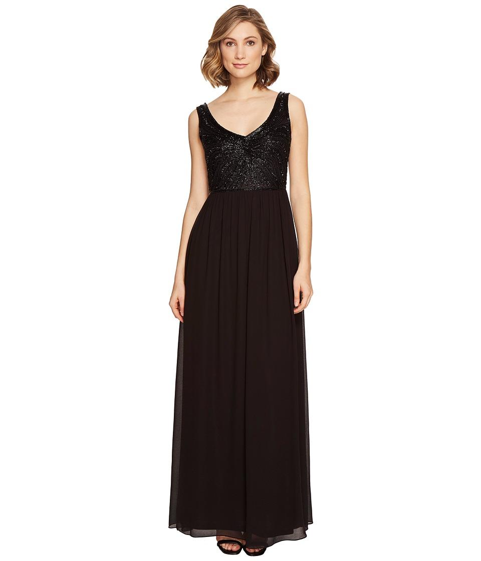 Adrianna Papell - Sleevleess Beaded V-neck Long Gown (Black) Women's Dress