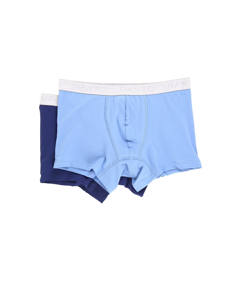 Hanro - Cotton Essentials 2-Pack Boxer Brief (Middle Blue/Deep Cobalt) Men's Underwear
