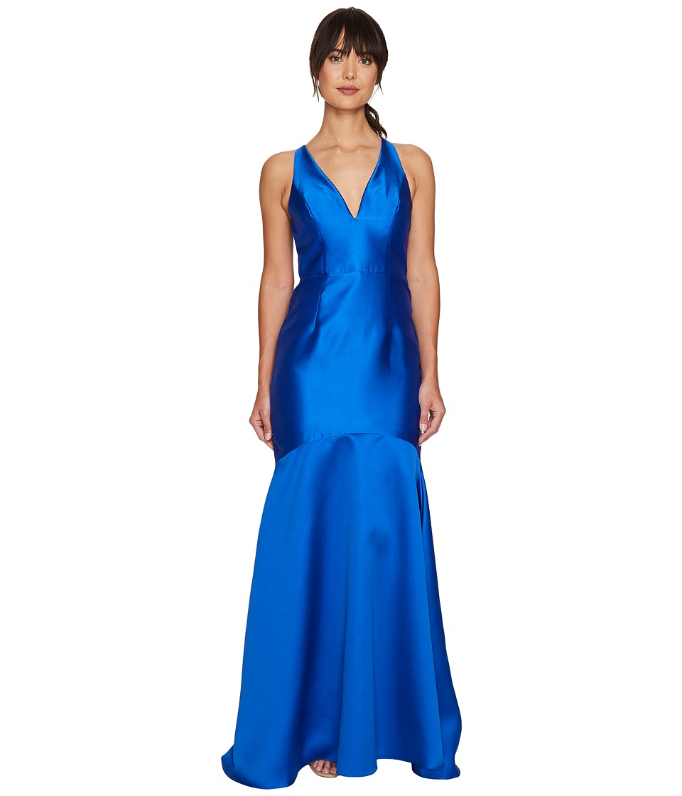 Adrianna Papell - Mikado Plunging Neck Mermaid Gown (Blue) Women's Dress