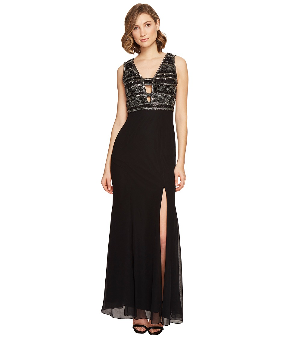 Adrianna Papell - V-neck Bead Bodice Gown (Black) Women's Dress