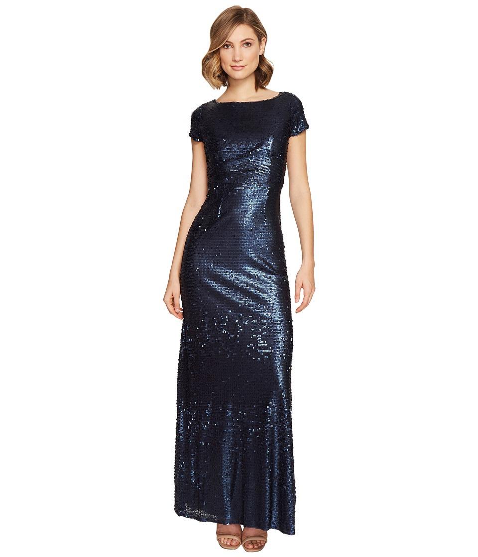 Adrianna Papell - Short Sleeve Sequin T Shirt Gown (Midnight) Women's Dress