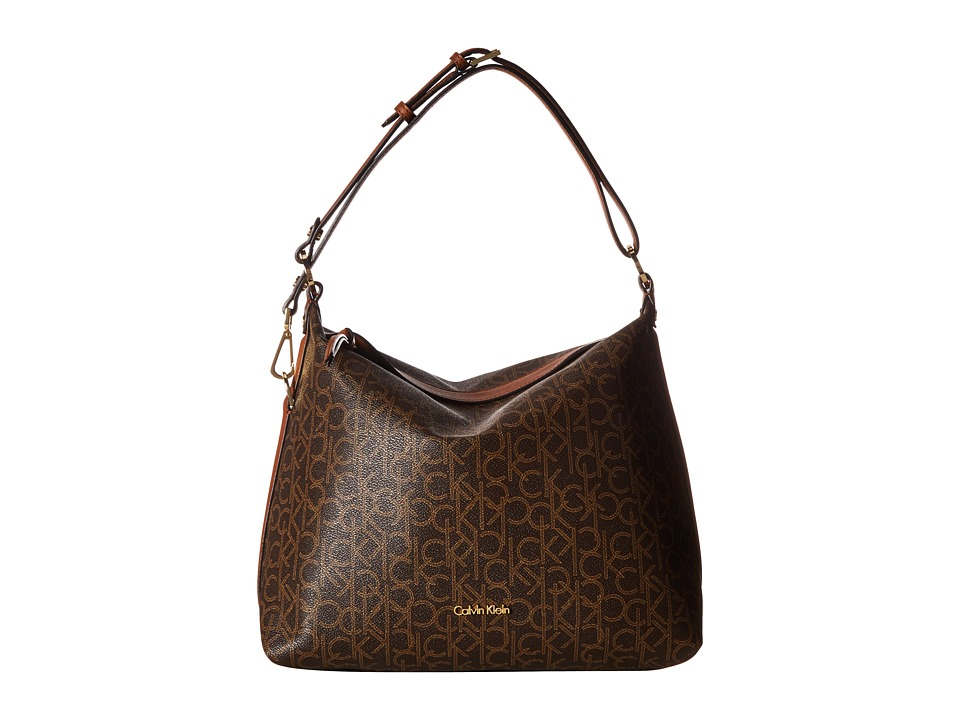 Calvin Klein - Monogram Hobo Bag (Brown/Khaki/Luggage) Hobo Handbags