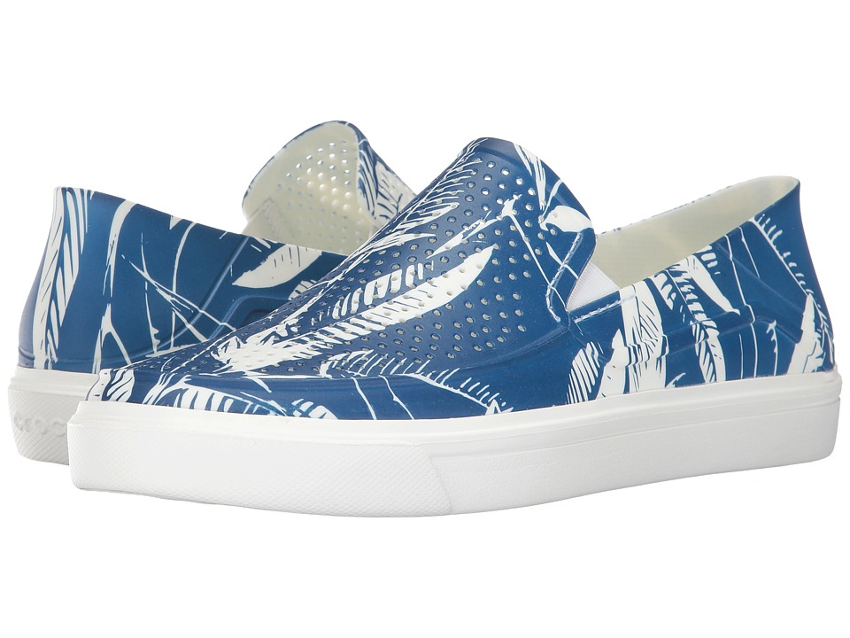 Crocs - CitiLane Roka Tropical Slip-On (Blue Jean/White) Men's Shoes