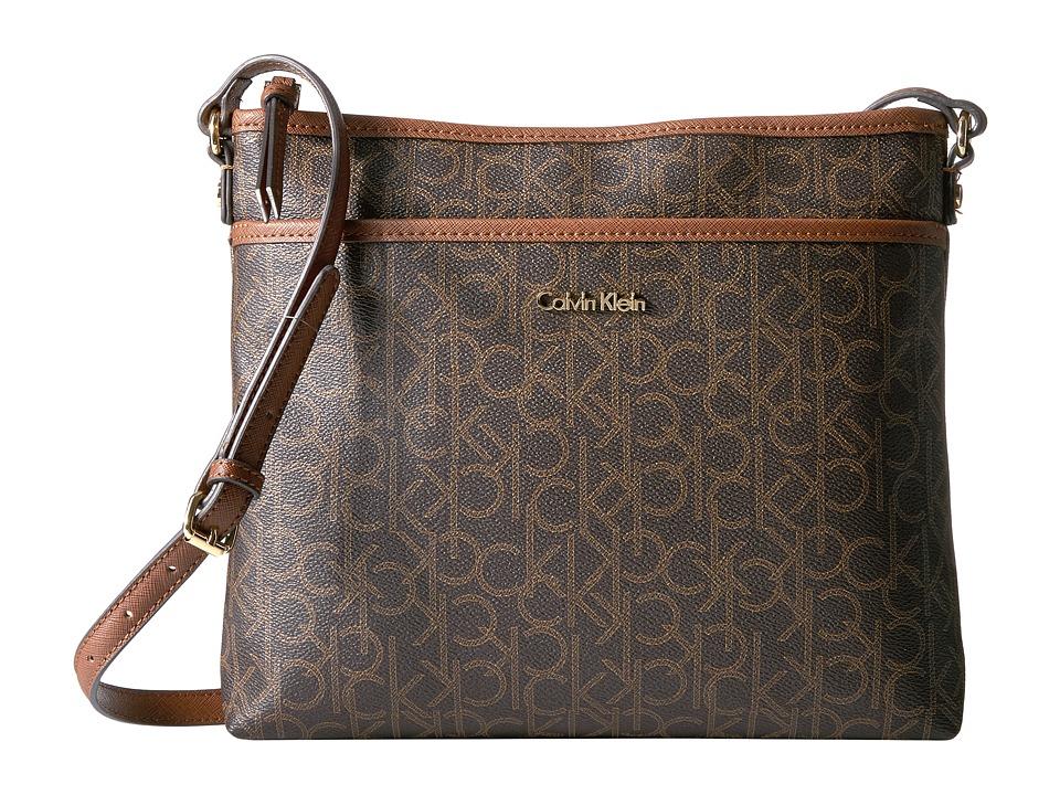 Calvin Klein - Monogram Large Crossbody (Brown/Khaki/Luggage) Cross Body Handbags