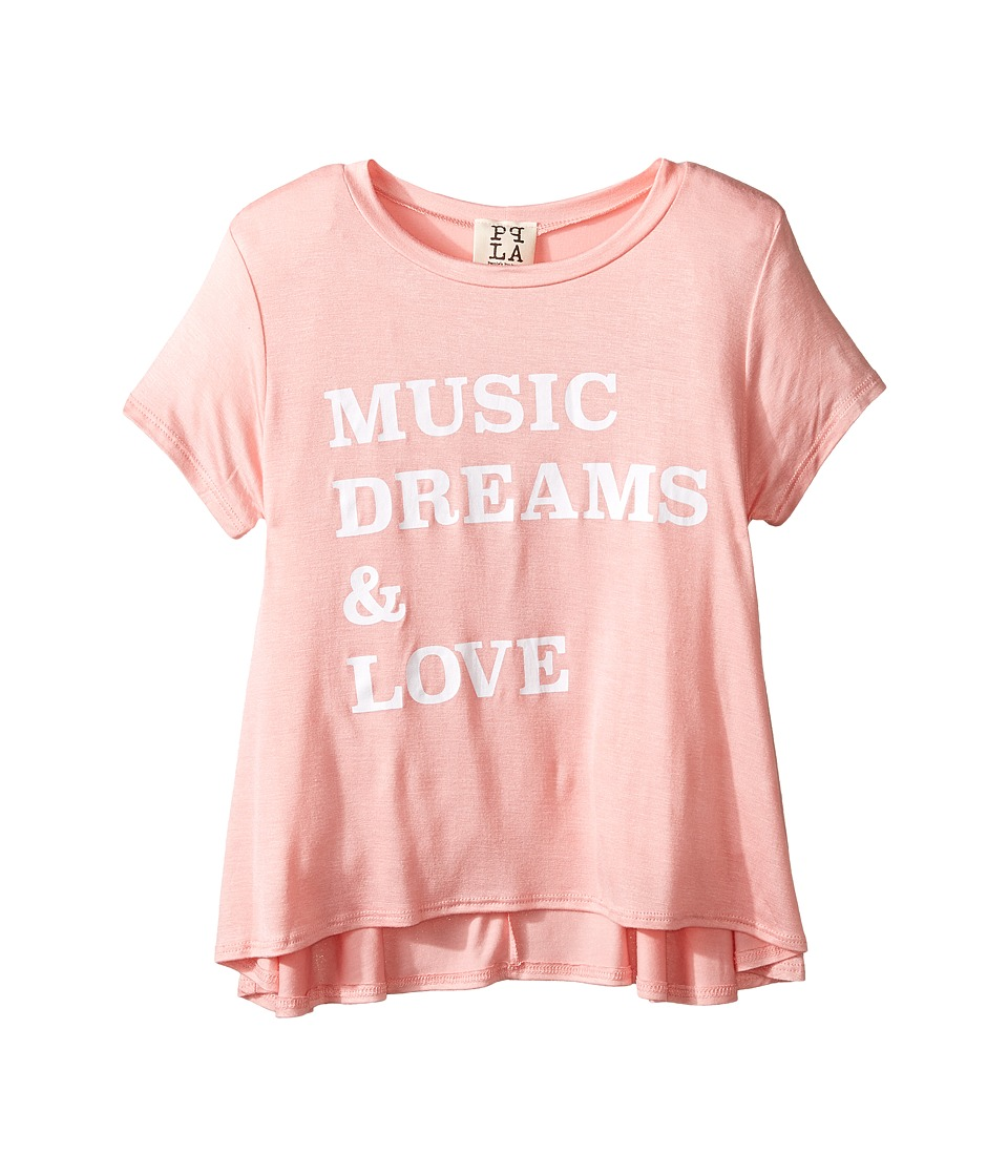 People's Project LA Kids - Music Dreams Tee (Big Kids) (Coral) Girl's T Shirt