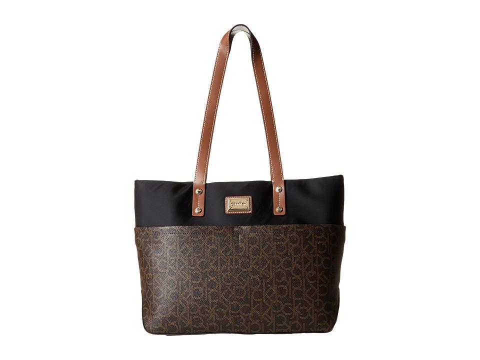 Calvin Klein - Monogram Tote (Brown/Khaki Combo) Tote Handbags